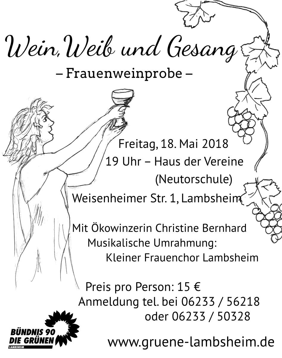 """Lambsheim: """"Wein, Weib und Gesang"""" – Frauenweinprobe am 18. Mai 2018"""
